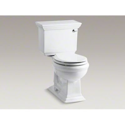 Height Two Piece Round Front (Kohler K-3933-RA-0 Memoirs Comfort Height Two-Piece Round Front Toilet with Right-Hand Trip Lever and Stately Design, White)