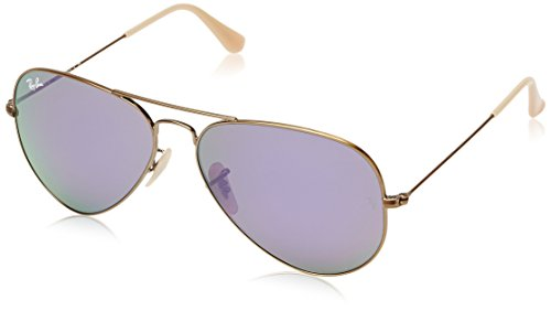 Ray-Ban RB3025 Aviator Flash Mirrored Sunglasses, Brushed Bronze Demigloss/Lilac Mirror, 58 mm