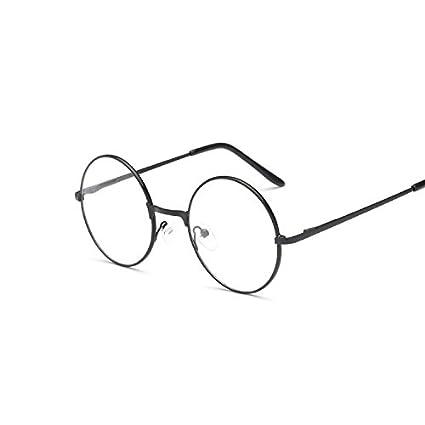 334bfb8d1 Men/women Round Sunglasses Retro Metal Frame Eyeglasses Korean Clear Lens Glasses  Male Female Optical Circle Plain Mirror Black: Amazon.in: Beauty