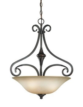 Bronze Tone Burnished Finish (Craftmade Lighting 24923-BA Torrey - Three Light Pendant, Burnished Armor Finish with Etched Painted Glass)