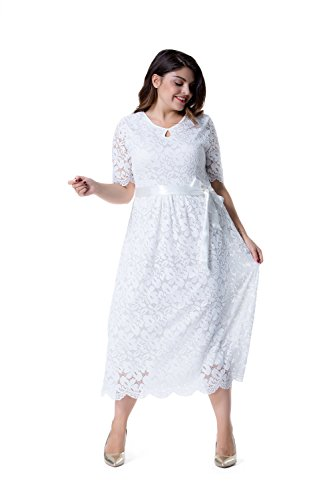 Esprlia Womens Plus Size Double V Neck Lace Dress Fit And Flare