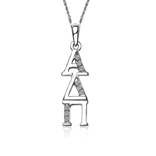 (Alpha Delta Pi Vertical Silver Necklace with a 18
