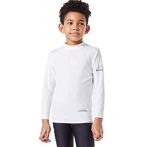COOLOMG Boys Rash Guard Long Sleeve Swim Shirts Sun Protection Kids Quick Dry Basic Skins Surf Running Swimwear White XS ()