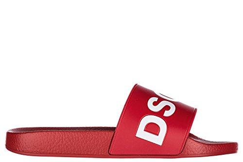 Dsquared2 Herren Badeschuhe Sandalen Gummi d2 Slides Rot EU 40 FFM010117200001M068