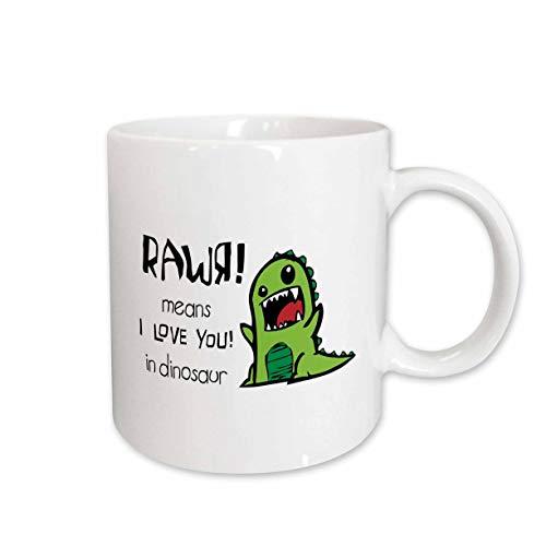 Dinosaur Photograph - 3dRose Rawr Means I Love You in Dinosaur Ceramic Mug, 11-Ounce