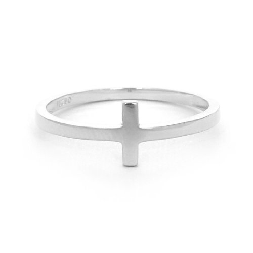 Beauniq Solid Sterling Silver Rhodium Plated Sideways Cross Ring, size 8 (Silver Cross Ring Sterling)