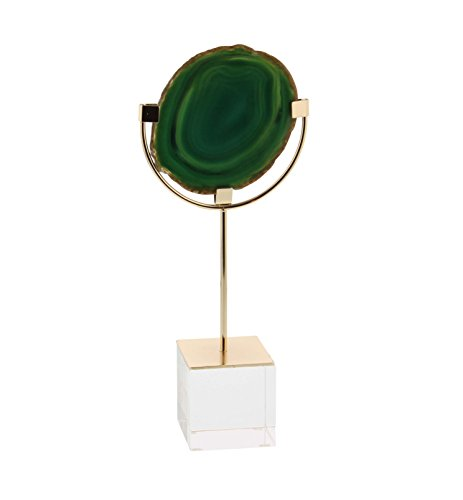 Deco 79 35768 Iron and Glass Green Agate Sculpture, (Agate Sculpture)