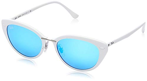 Ray-Ban Women's RB4250 Rectangular Sunglasses, Shiny White/Green Mirror Blue, 52 mm (Cat Ray Bans)