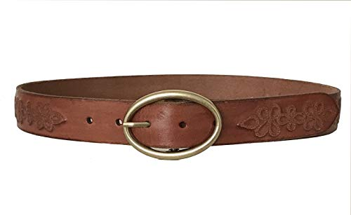 (Lucky Brand - Women's - Metallic Floral Embossed Brown Leather Belt (Small))