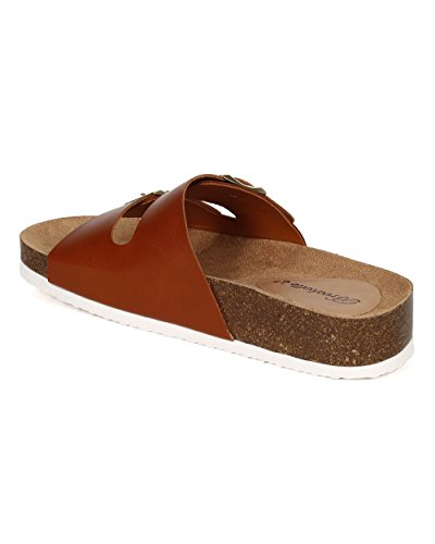 Breckelles Ce01 Femme Similicuir Double Boucle Slip Sur Sandale Plate - Similicuir Beige