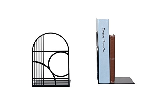 Unique Office Bookends - Modern Brand Design Metal Book Ends for Large and Tall Books (Black) ()