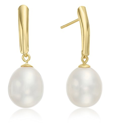 14k Yellow Gold Freshwater Cultured Drop Pearl Earring (White)