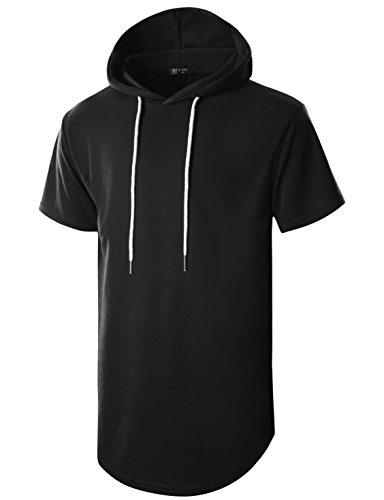 GIVON Mens Hipster Simple Longline Lightweight Pullover Short Sleeve Hooded Shirt/DCF032-BLACK-2XL