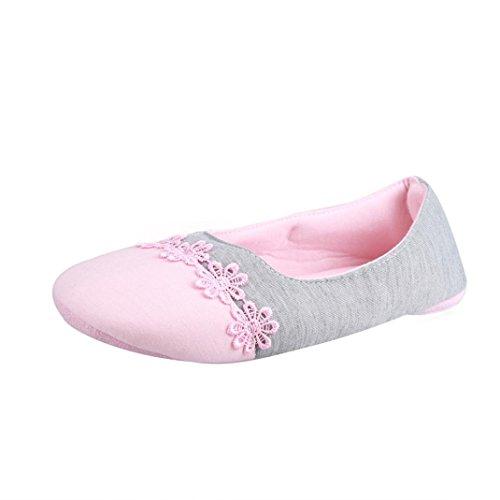 Inkach Women Home Slippers Spliced Warm Pregnant Women Shoes Yoga Shoes Pink e642Ju7