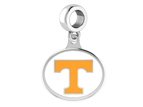 University of Tennessee Volunteers VOLS Drop Charm Fits All European Style Beaded Charm Bracelets - Enamel Tennessee Volunteers Charm