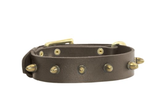 Dean & Tyler The Bullet Leather Collar for Dogs, 32 to 36-Inch by 1-1/2-Inch, Brown