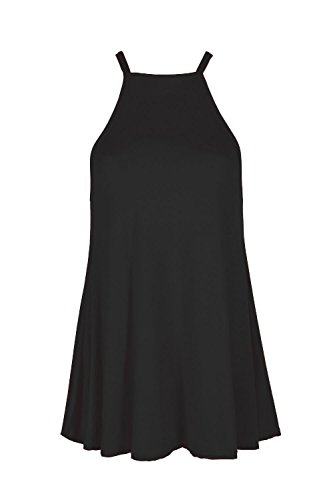 Nouvelles Femmes Filles Taille Plus Haut Dames Veste Camisole Haut Cou Décousu Robe Noire