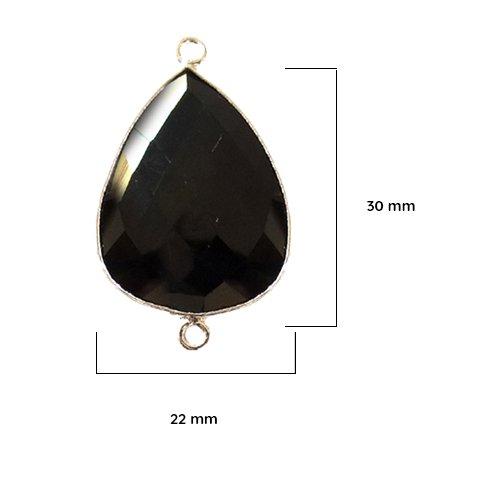2 Pcs Black Onyx Pear 22X30mm by BESTINBEADS I Black Onyx Stone I Black Onyx Pear Pendant I Pear Pendant Silver I Bezels Connectors I Black Onyx Pear Pendant Silver - Onyx Mm Black 30