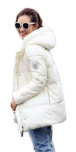 Hiver Manteau Femme Manches Longues Warm paissir Doudoune Elgante  Capuchon Casual Costume Mode Outdoor Chemine Stepp Parka Hiver Couleur Unie Blanc