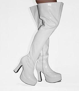 5ebb55b5e72 Disco-1000 - White Patent PVC Platform 4½ Inch Heel 60s 70s Retro Thigh
