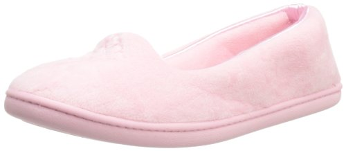 Dearfoams Plush Velour Closed-Back Women's Slipper - Padded Microfiber Slip-Ons with a Durable Outsole - 745,Sugar Pink,Medium/7-8 M -