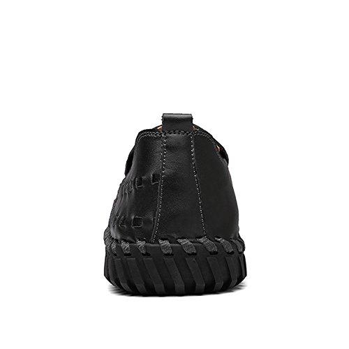 Lakerom Heren Premium Lederen Casual Slip Op Loafers Schoenen Black02