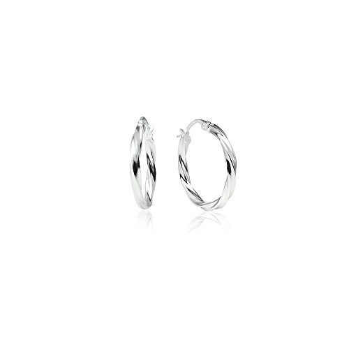 (LOVVE Sterling Silver High Polished Twist Round Click-Top Hoop Earrings, 2x20mm)