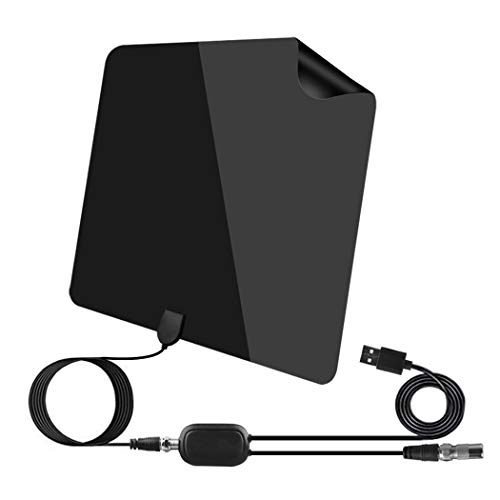 TV Antenna, Amplified HD Digital TV Indoor Antenna Long 130 Miles Range, 4K 1080P HD VHF UHF for Local Channels, Strong Magic Stickers, Ultra Thin, USB Power Adapter