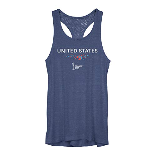 (Fifth Sun Junior's Officially Licensed FIFA United States Fashion Mesh Tank Top, Navy Heather, Medium )