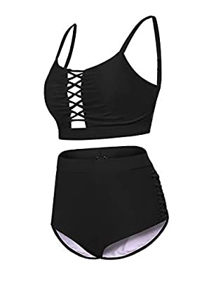 IN'VOLAND Women Plus Size Swimsuit High Waisted Hollow Out Two Pieces Sexy Bikini Bathing Suit Swimwear