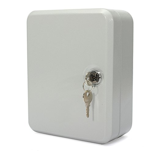 Storage Box Safe 20 Tags Lockable Security Metal Key Cabinet Including 2 Keys,20 Cards, Screw,2 Expansion Pipe Steel