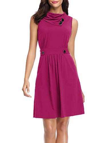 HUHOT Summer Casual Cowl Neck Sleeveless Dress with Pockets and Belted(Magenta,X-Large)