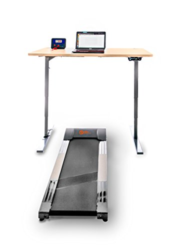 Office Fitness High Riser 1E Laufband Schreibtisch, weiß, grey frame, white desktop 140 x 80