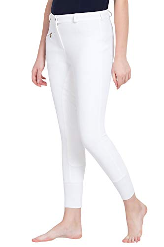 TuffRider Women's Ribb Lowrise Full Seat Breeches (Regular), White, 32