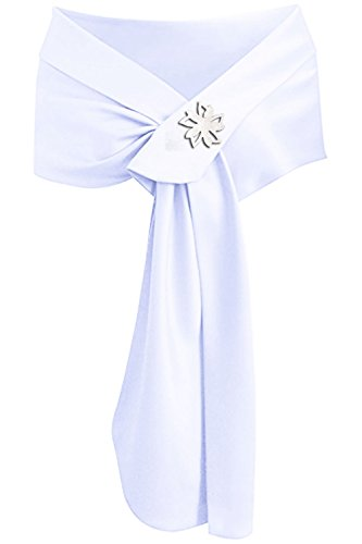 Meet Edge Women's Satin Shawl Wrap for Evening/Wedding Party (White Band Brooch)