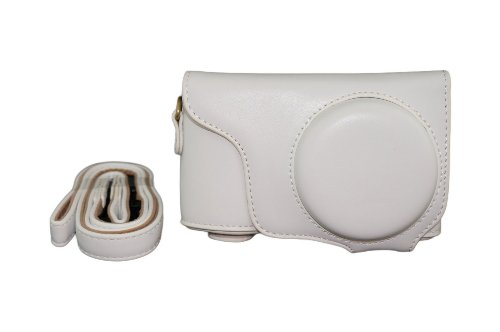 Protective PU Leather Camera Case Bag For Samsung Galaxy Camera 2 EK-GC200 GC200 with Strap and Screen Protector - White
