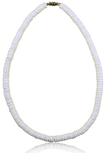 - Native Treasure - 18 inch Men's Smooth White Clam Shell Heishe Flat Cut Puka Shell Necklace - 5/16