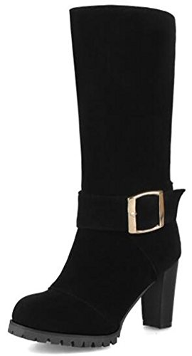 Booties Frosted IDIFU Heels Vintage High Toe Black Riding Zipper Womens Buckle Back Mid Round Boots Calf Chunky wqUFp