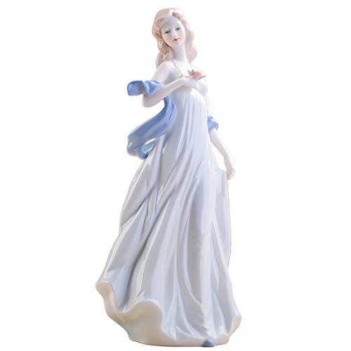 Amperer Ceramic Girl Statue Porcelain Lady Figurine Home Accessories Modern Style Art Sculpture (4# for Love)