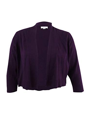 Calvin Klein Womens Plus Ribbed Trim Open Front Shrug Sweater Purple 2X
