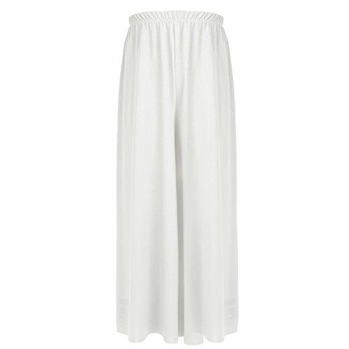 zdhoor Kids Girls Celebration Spirit Palazzo Dance Pants Lyrical Liturgical Praise Loose Fit Wide Leg Pants Ivory -