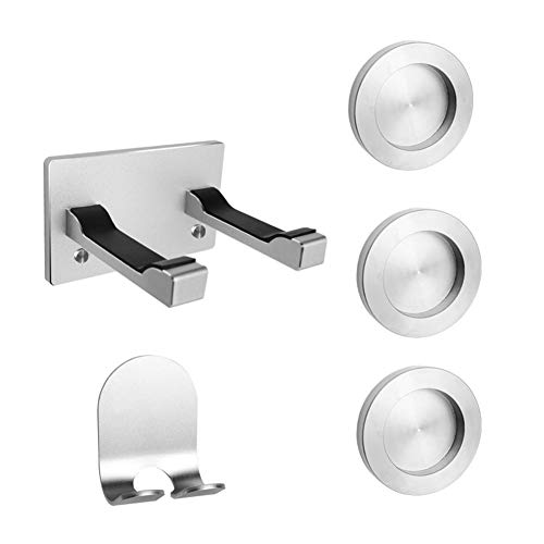 AOLVO Hair Dryer Wall Mount Holder with Self Adhesive for Dyson,Bathroom Wall Bracket Rack Organizer Stainless Steel Shelf for Dyson Supersonic HairDryer,Power Plug,Diffuser,Nozzle