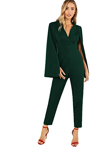 MAKEMECHIC Women's Plunging Neck Wrap Front Tailored Cloak Sleeve Cape Solid Jumpsuit Green XL]()