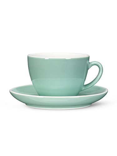 Set 6 Retro Turquoise Porcelain Diner Demitasse 9oz Latte Coffee Cups & Saucers