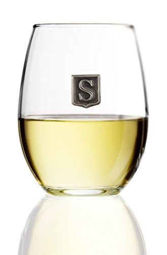 Fine Occasion Personalized Stemless Wine Glass with Letter Crest (M, 15 oz)