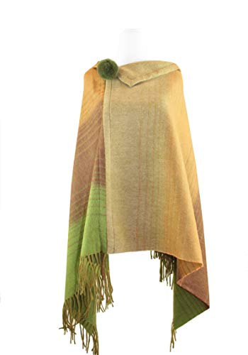 Wool Cashmere Poncho Wrap Cape Stole with Fur Pompom (Multi Stripe) ()