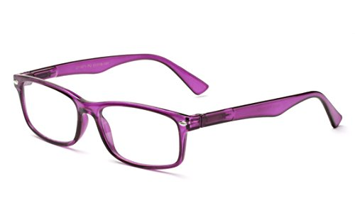 Newbee Fashion - Unisex Translucent Simple Design No Logo Clear Lens Glasses Squared Fashion Frames Purple