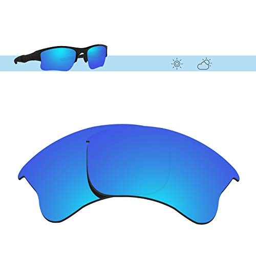Glintbay 100% Precise-Fit Replacement Sunglass Lenses for Oakley Flak Jacket XLJ - Polarized Ice Blue Mirror