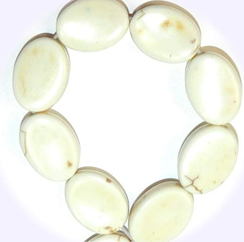 (New White Turquoise 18mm Twisted Flat Oval Magnesite Jewelry-Making Beads 15-inch DIY Craft Supplies for Handmade Bracelet Necklace)