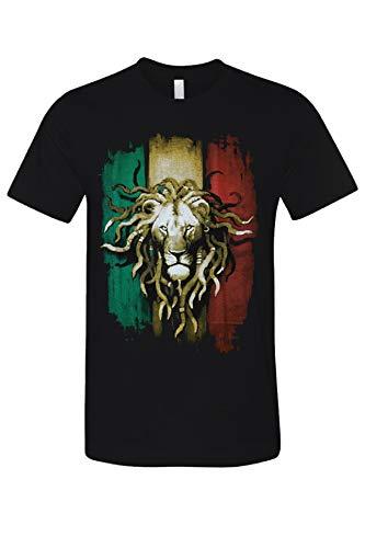 Rasta Lion Urban Vintage Graphic Printed Men's Casual T-Shirt Black X-Large